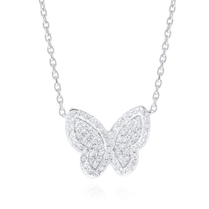 14k White Gold Diamond Butterfly