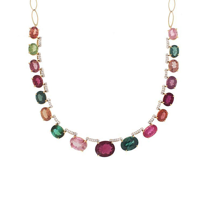 18K Yellow Gold Multi Color Tourmaline Necklace