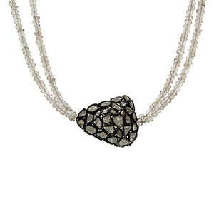 Champagne Zircon & Diamond Necklace- 42""
