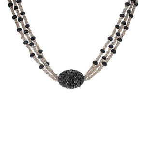Black Spinel & Champagne Beaded Necklace- 34""