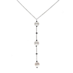 18k White Gold Black Diamond and Pearl Drop Necklace