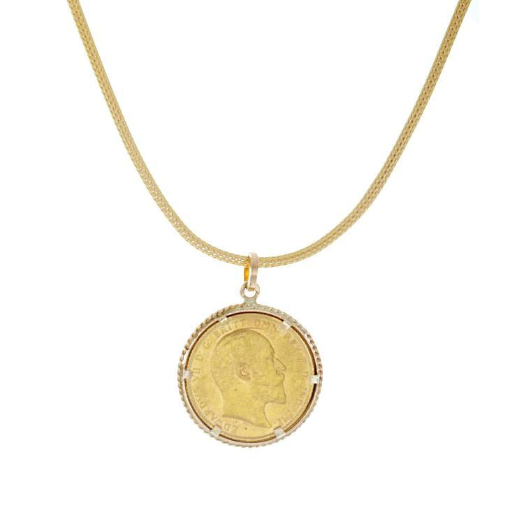 Estate 14k Yellow Gold Coin Pendant
