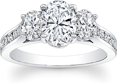 Oval 3-Stone Diamond Engagement Ring