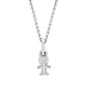 14k White Gold Diamond Boy Pendant