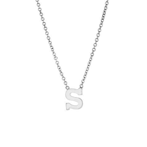 14k White Gold Mini Initial Pendant