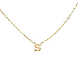 14k Yellow Gold Mini Initial Pendant with Diamond