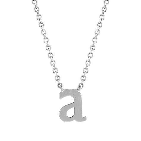 14k White Gold Initial Necklace
