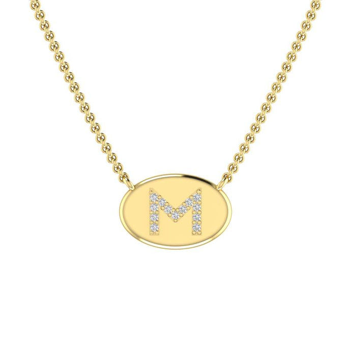 14k Yellow Gold Diamond Initial Disc