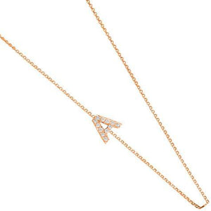 14k Yellow Gold Diamond Side Initial Necklace