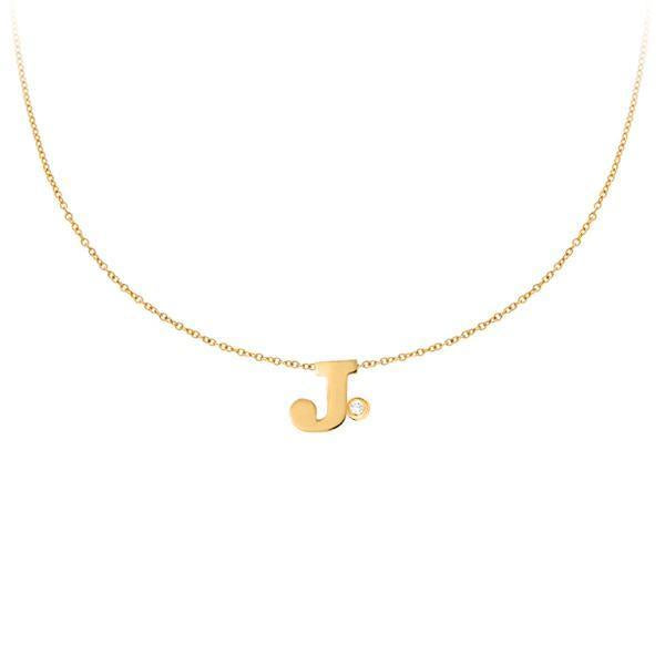 14k Yellow Gold Uppercase Initial Necklace