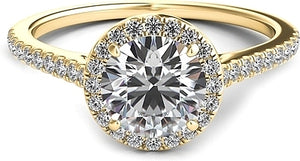 Petite Diamond Halo Engagement Ring