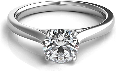 Petite Trellis Diamond Solitaire Engagement Ring