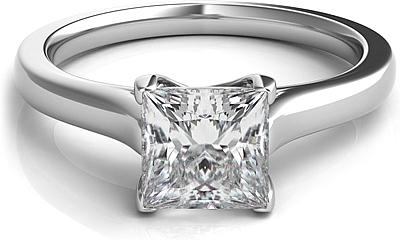 Petite Trellis Princess Cut Solitaire Diamond Engagement Ring