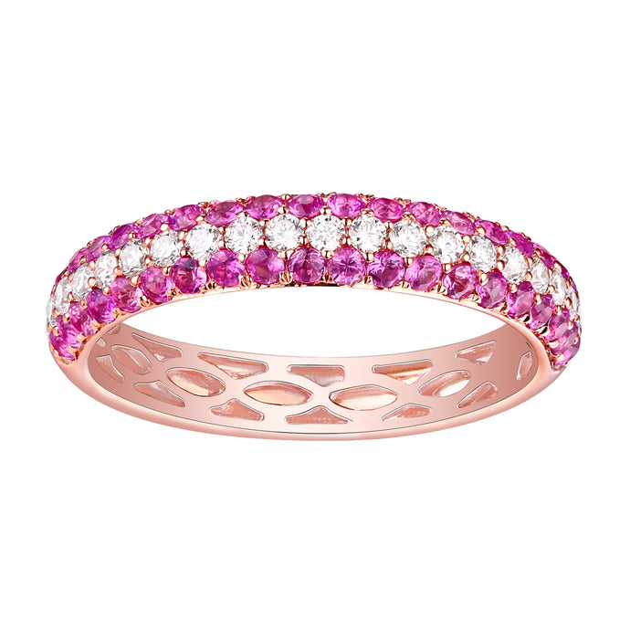 14k Rose Gold Diamond & Pink Sapphire Ring
