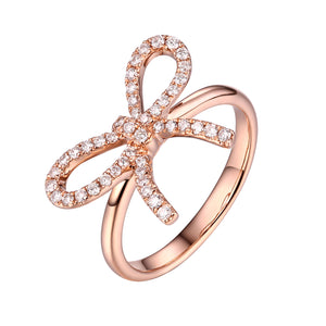 14k Rose Gold Diamond Bow Ring