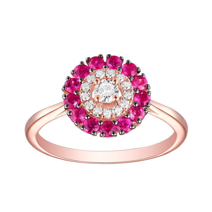 14k Rose Gold Diamond & Ruby Ring