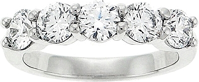 Platinum 1 1/2 ct. Five Stone Diamond Wedding Ring