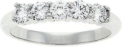 Platinum .65ct Five Stone Diamond Wedding Band