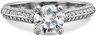 Precision Set 4-Sided Milgrain Diamond Engagement Ring