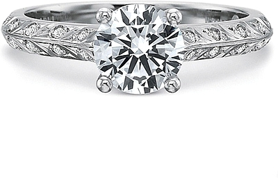 Precision Set Leaf Pattern Diamond Engagement Ring