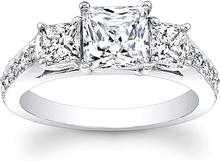 Princess Cut Pave Diamond Engagement Ring