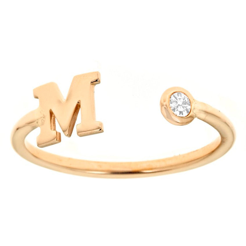 14k Yellow Gold Initial Ring with Diamond