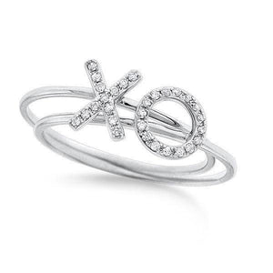 14k White Gold Diamond XO Rings
