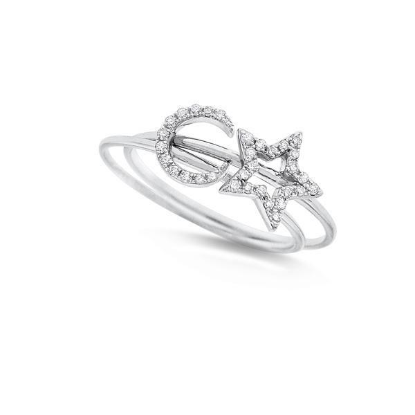14k White Gold Diamond Moon & Star Rings