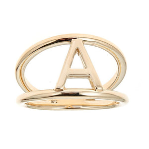 14k Yellow Gold Initial Ring