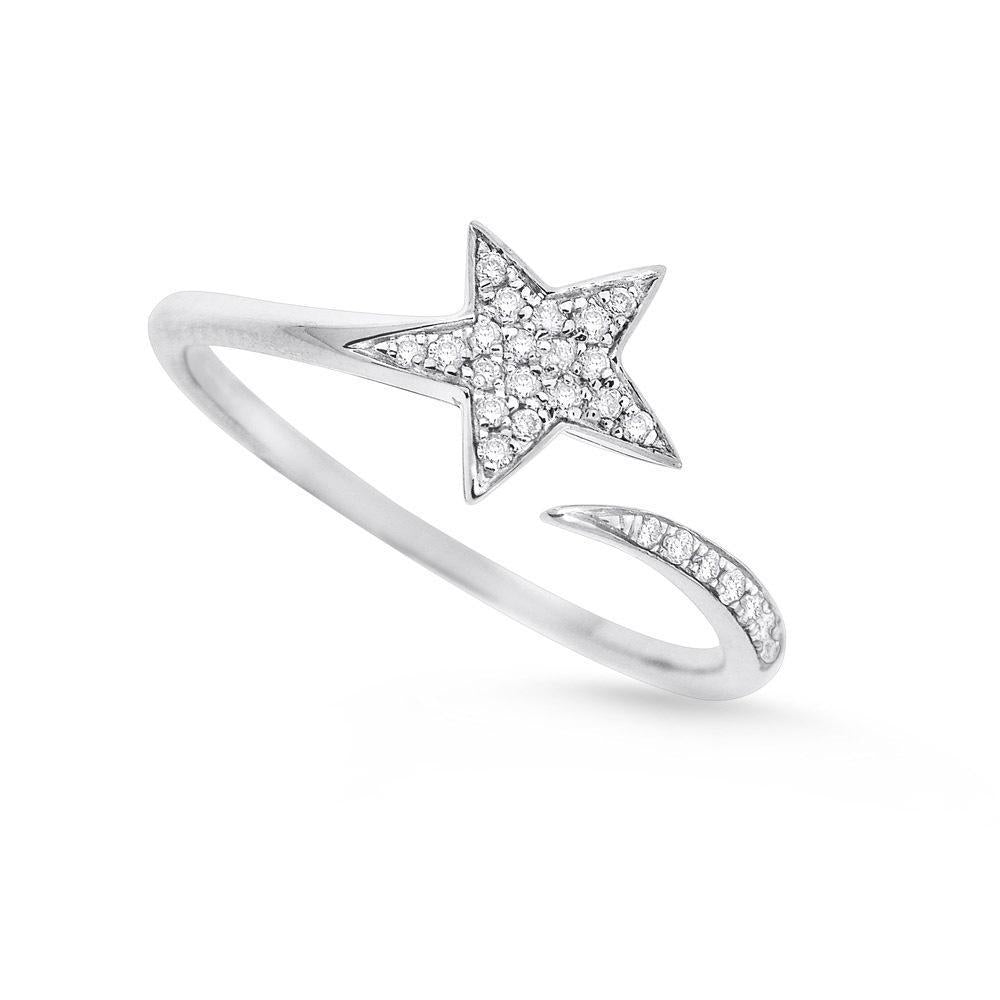 14k White Gold Diamond Star Ring