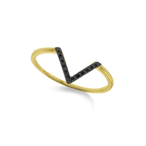 14k Yellow Gold Black Diamond V Ring