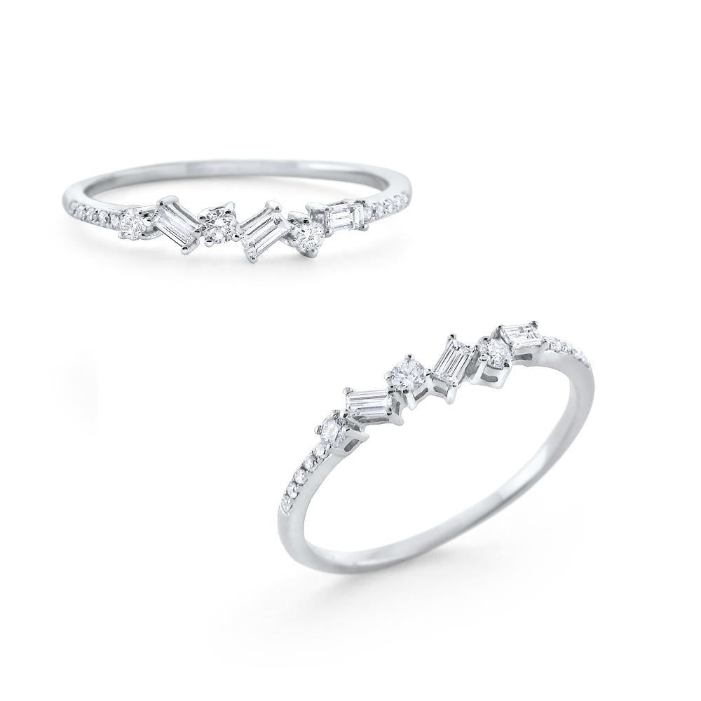 14k White Gold Diamond Stackable Ring- .23cts