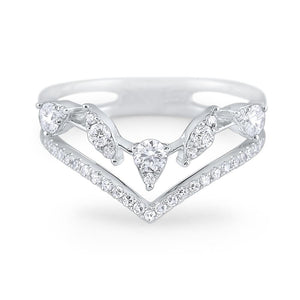 14k White Gold Diamond V Ring