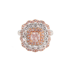 18k White Gold White & Pink Diamond Ring