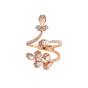 18k Rose Gold Floral Diamond Ring