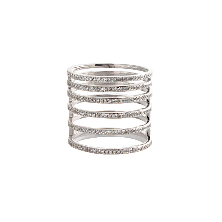 18k White Gold Multi Row Diamond Ring