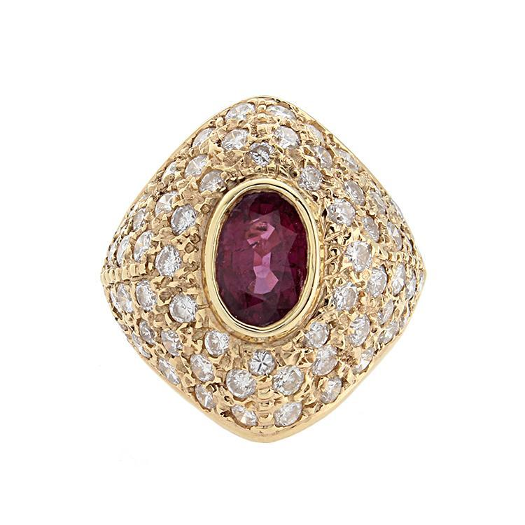 Estate 14k Yellow Gold Diamond & Ruby Ring