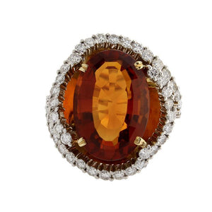Estate 18k Yellow Gold Diamond & Citrine Ring