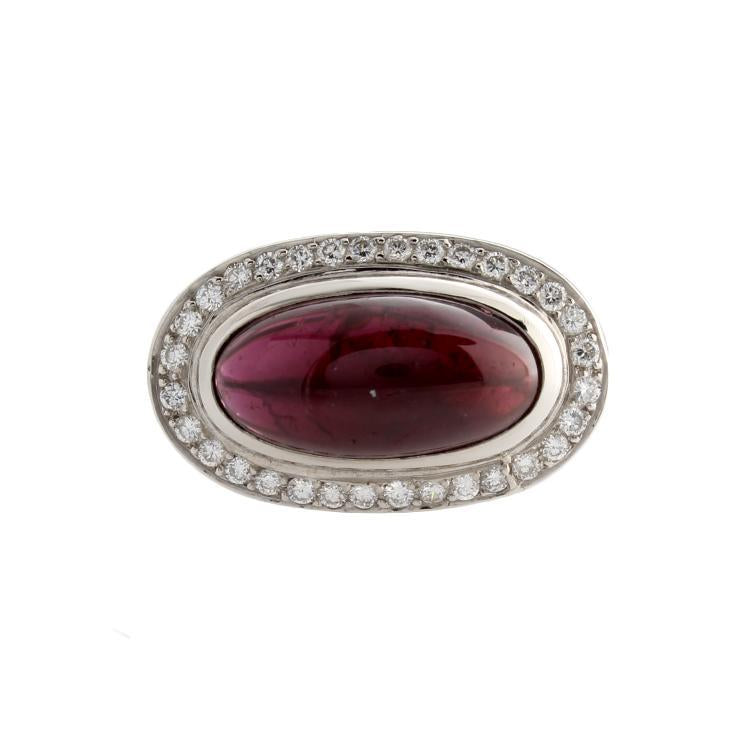 Estate 18k Whiet Gold Diamond & Rhodalite Garnet Ring