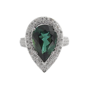 18k White Gold Diamond & Tourmaline Ring