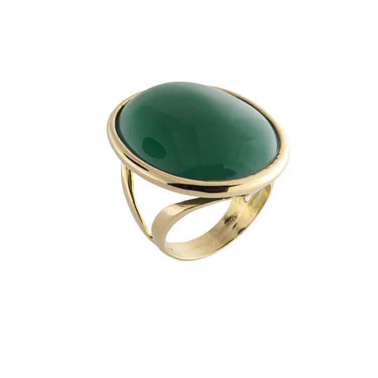 18k Yellow Gold Green Agate Ring