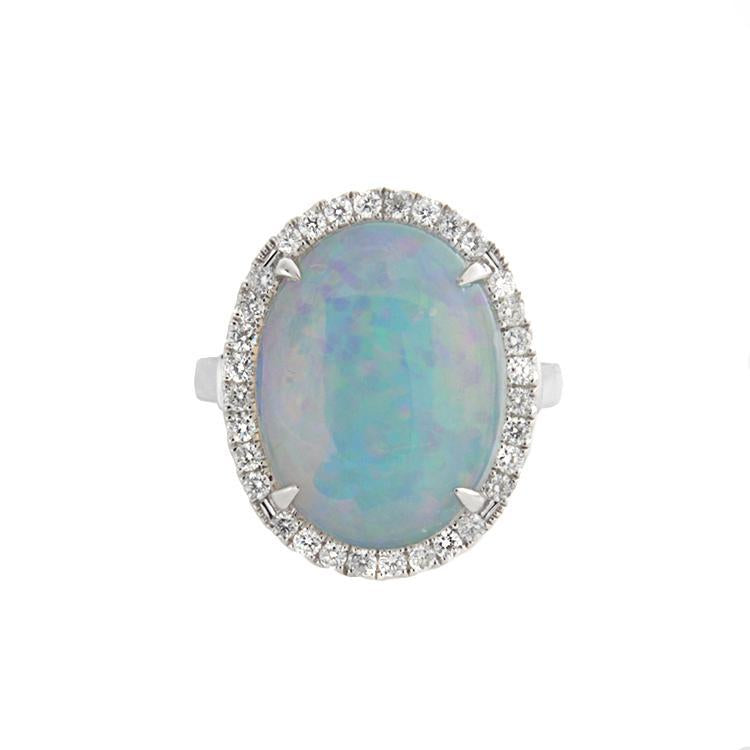 14k White Gold Diamond & Opal Ring