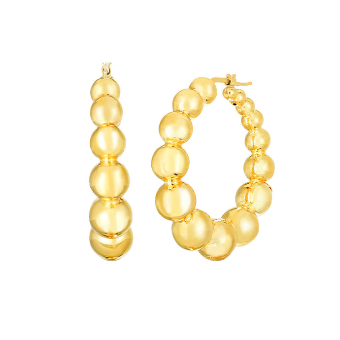 Roberto Coin Oro Beaded Hoop Earring