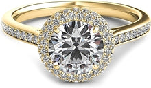Load image into Gallery viewer, Rolled Round Halo Diamond Engagement Ring