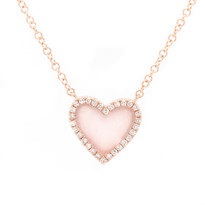 Diamond & Mother of Pearl Mini Heart Necklace