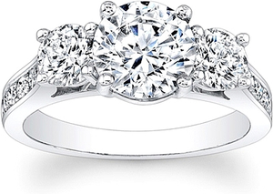 Round 3-Stone Channel Set Diamond Engagement Ring