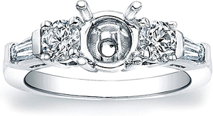 Round Brilliant and Tapered Baguette Diamond Engagement Ring- 3/4ct tw