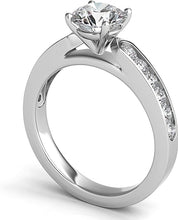 Round Brilliant Channel-Set Cathedral Diamond Engagement Ring