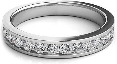 Round Brilliant Channel Set Diamond Wedding Band