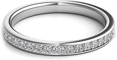 Round Brilliant Pave-Set Diamond Wedding Band